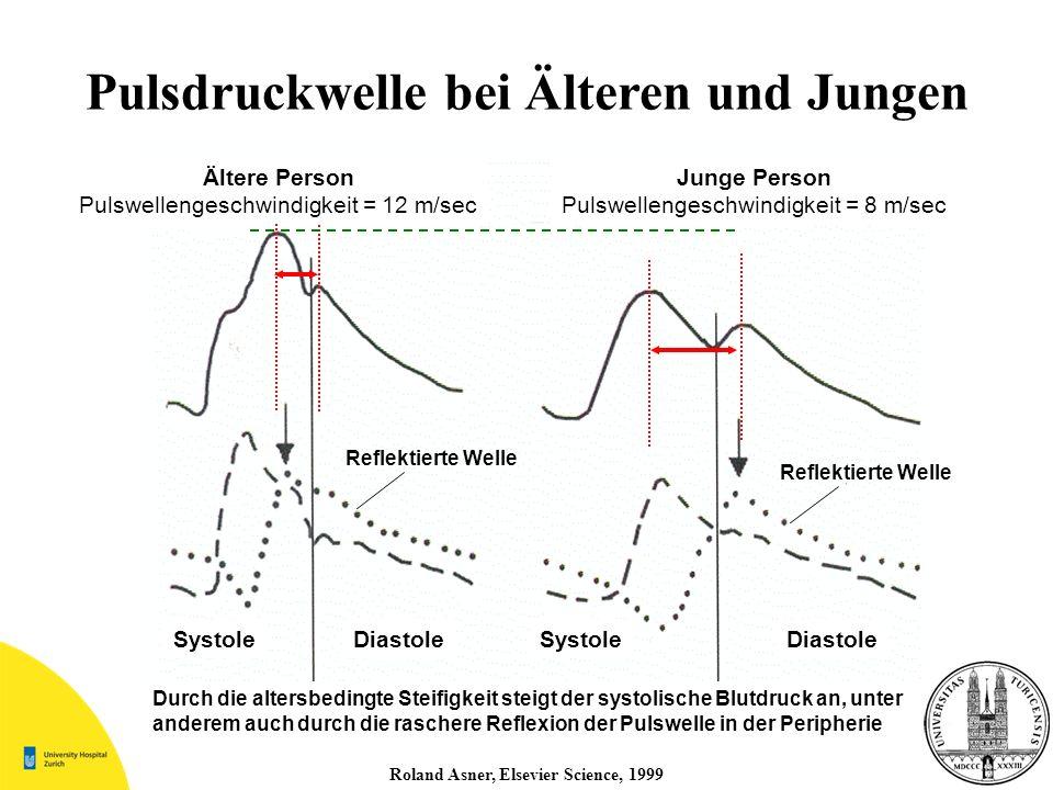Pulsdruckwelle bei Älteren und Jungen Roland Asner, Elsevier Science, 1999 Ältere Person Pulswellengeschwindigkeit = 12 m/sec Junge Person Pulswelleng