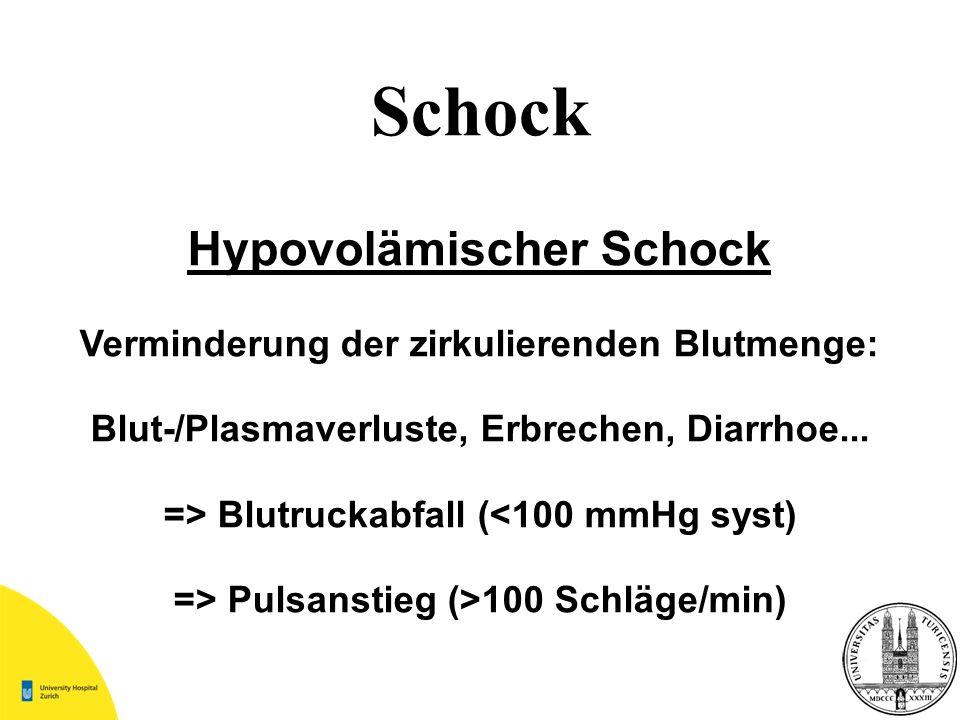 Schock Hypovolämischer Schock Verminderung der zirkulierenden Blutmenge: Blut-/Plasmaverluste, Erbrechen, Diarrhoe... => Blutruckabfall (<100 mmHg sys