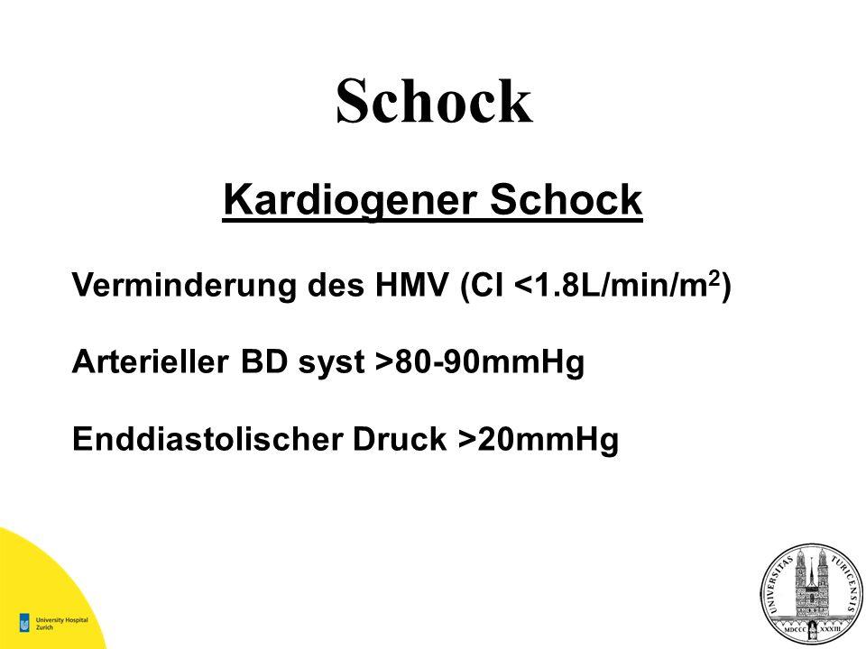 Schock Kardiogener Schock Verminderung des HMV (CI <1.8L/min/m 2 ) Arterieller BD syst >80-90mmHg Enddiastolischer Druck >20mmHg