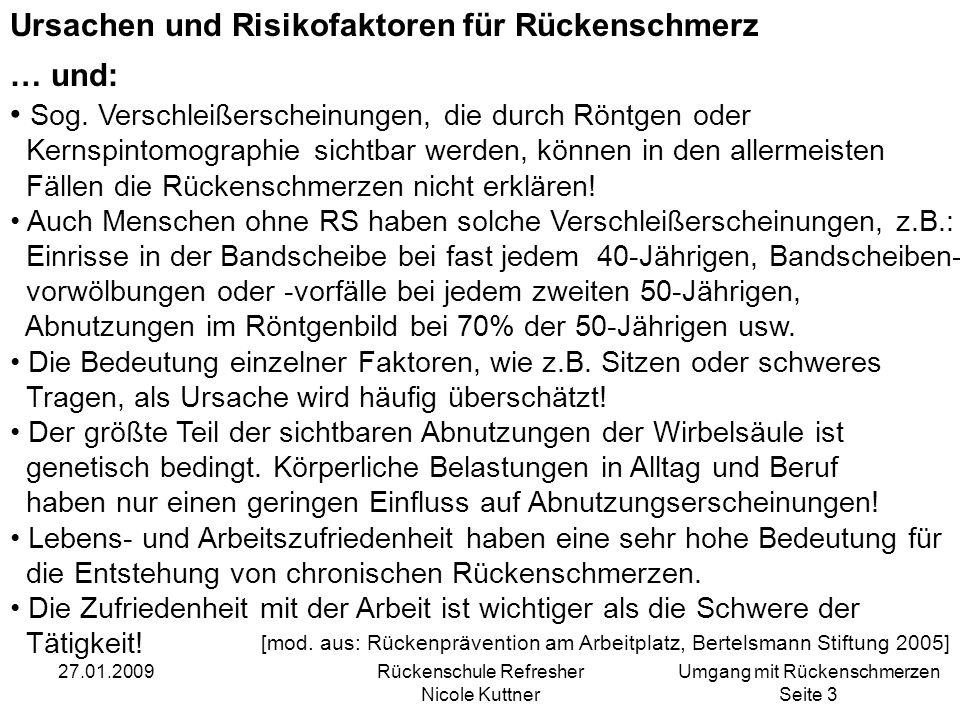 Umgang mit Rückenschmerzen Seite 4 27.01.2009Rückenschule Refresher Nicole Kuttner Wodurch entstehen Rückenschmerzen.