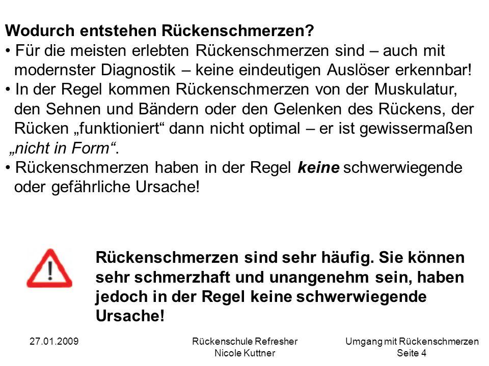 Umgang mit Rückenschmerzen Seite 5 27.01.2009Rückenschule Refresher Nicole Kuttner Fakten: Rückenschmerz - betrifft 80% der Bevölkerung - fast 70% aller 30 Jährigen - 70% aller Arbeitsplätze ins Sitzen verlagert - mehr als 25 Milliarden Euro Kosten - 270.000 stationäre Behandlungen der WS - 100.000 BS OP-10.000 rezidive OP an der Bandscheibe - 54.000 Frühberentungen - 75 Millionen Arbeitsunfähigkeitstage - (2003 um ca.