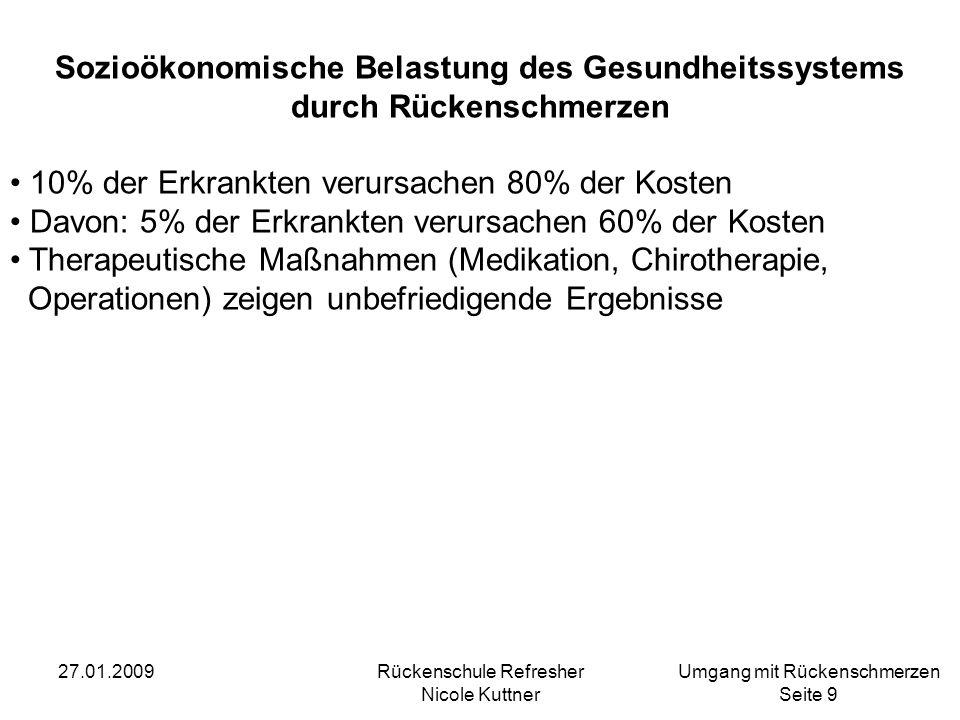 Umgang mit Rückenschmerzen Seite 10 27.01.2009Rückenschule Refresher Nicole Kuttner Expertisen (2004) der Bertelsmannstiftung und Kooperationspartner Prävention von Rückenschmerzen mit Uni Münster (Lühmann, Müller, Raspe) Prävention von Rückenschmerzen durch bewegungsbezogene Interventionen mit Uni Magdeburg (Pfeifer) Effektive und effiziente Wege zur Prävention von Kreuz- schmerzen mit Uni Hannover (Baumann, Möhrig)
