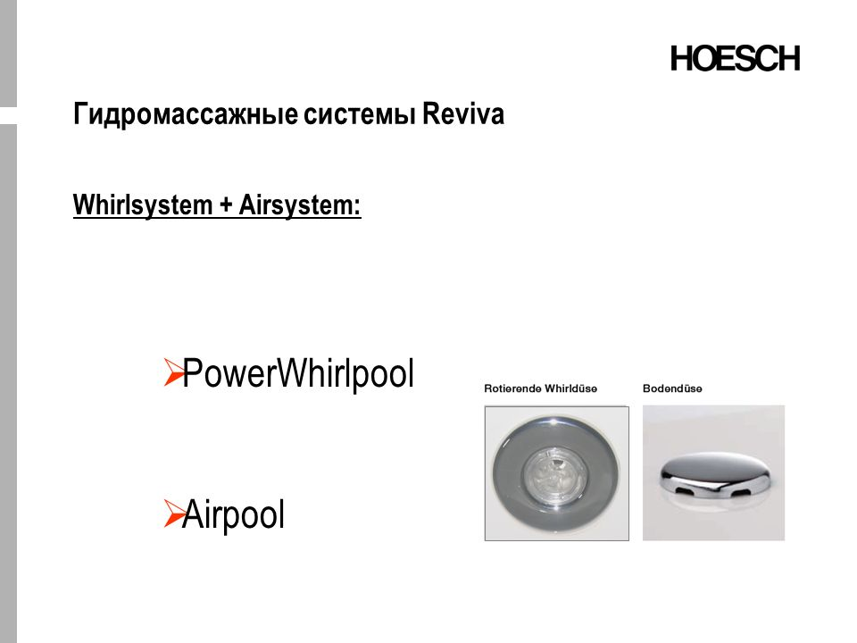 Гидромассажные системы Reviva Whirlsystem + Airsystem: PowerWhirlpool Airpool