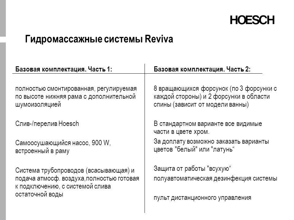 Гидромассажные системы Reviva Базовая комплектация.