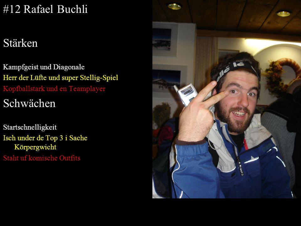 #12 Rafael Buchli Stärken Kampfgeist und Diagonale Herr der Lüfte und super Stellig-Spiel Kopfballstark und en Teamplayer Schwächen Startschnelligkeit