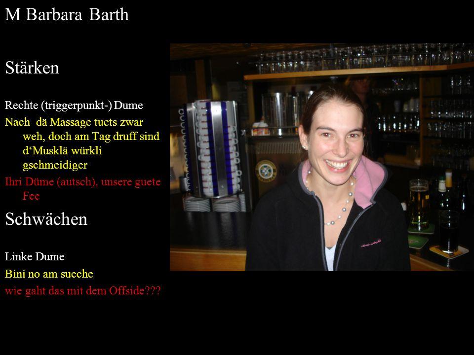 M Barbara Barth Stärken Rechte (triggerpunkt-) Dume Nach dä Massage tuets zwar weh, doch am Tag druff sind dMusklä würkli gschmeidiger Ihri Düme (auts