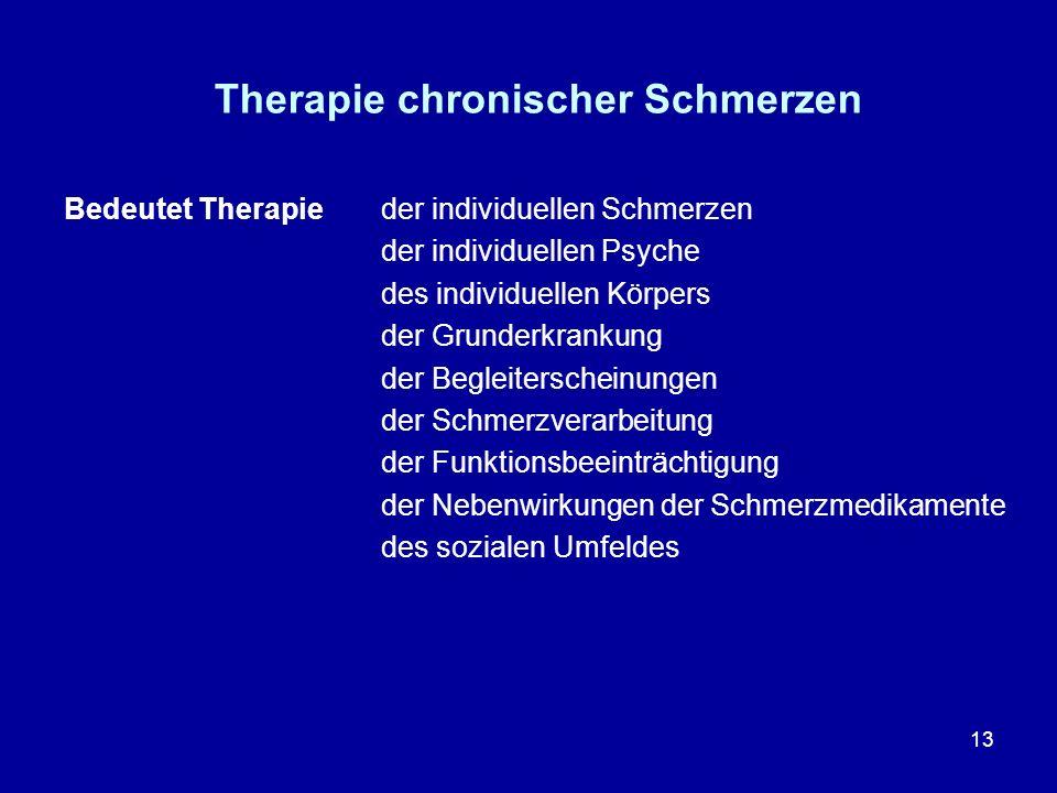 13 Therapie chronischer Schmerzen Bedeutet Therapieder individuellen Schmerzen der individuellen Psyche des individuellen Körpers der Grunderkrankung