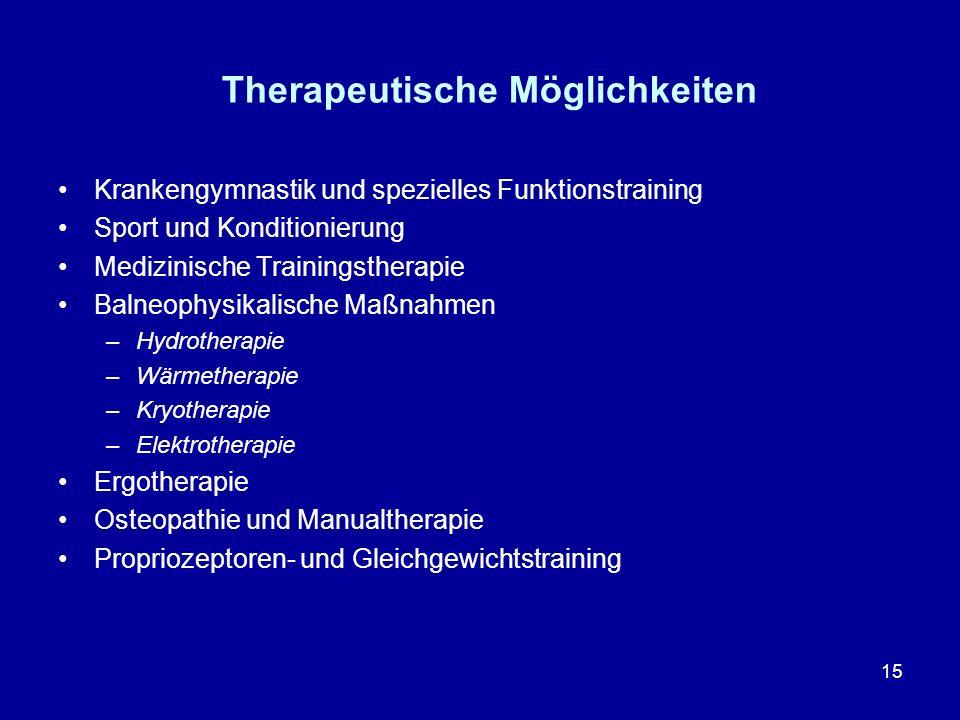 15 Therapeutische Möglichkeiten Krankengymnastik und spezielles Funktionstraining Sport und Konditionierung Medizinische Trainingstherapie Balneophysi