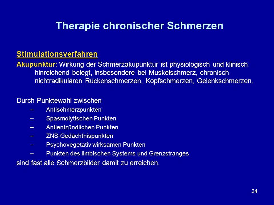 24 Therapie chronischer Schmerzen Stimulationsverfahren Akupunktur: Wirkung der Schmerzakupunktur ist physiologisch und klinisch hinreichend belegt, i