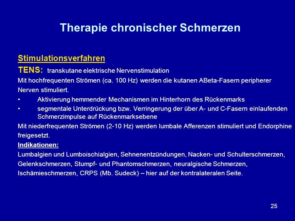 25 Therapie chronischer Schmerzen Stimulationsverfahren TENS: transkutane elektrische Nervenstimulation Mit hochfrequenten Strömen (ca. 100 Hz) werden
