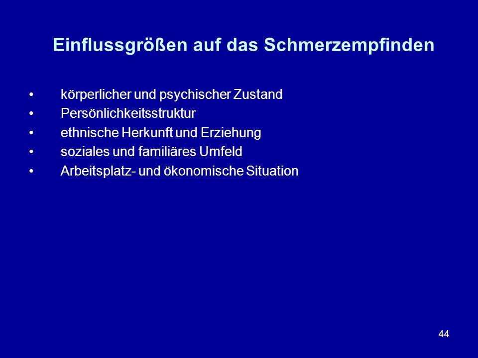 44 Einflussgrößen auf das Schmerzempfinden körperlicher und psychischer Zustand Persönlichkeitsstruktur ethnische Herkunft und Erziehung soziales und