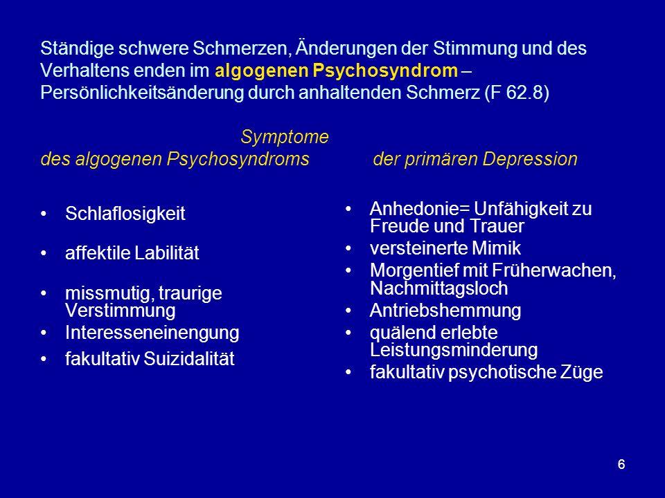 6 Ständige schwere Schmerzen, Änderungen der Stimmung und des Verhaltens enden im algogenen Psychosyndrom – Persönlichkeitsänderung durch anhaltenden