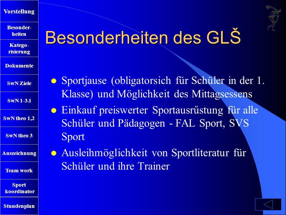 SwN Ziele SwN 1-3.l SwN theo 1,2 SwN theo 3 Auszeichnung Team work Sport koordinator Stundenplan Besonder- heiten Katego- risierung Dokumente Vorstellung Besonderheiten des GLŠ l Sportjause (obligatorsich für Schüler in der 1.