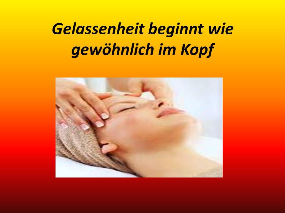 1.Übung: Massage der Stressreduktionspunkte zwei kleinen Erhebungen (Stirnbeinhöcker) Massieren Sie diese Punkte leicht mit Daumen und Zeigefinger einer Hand vollständige Atemzüge