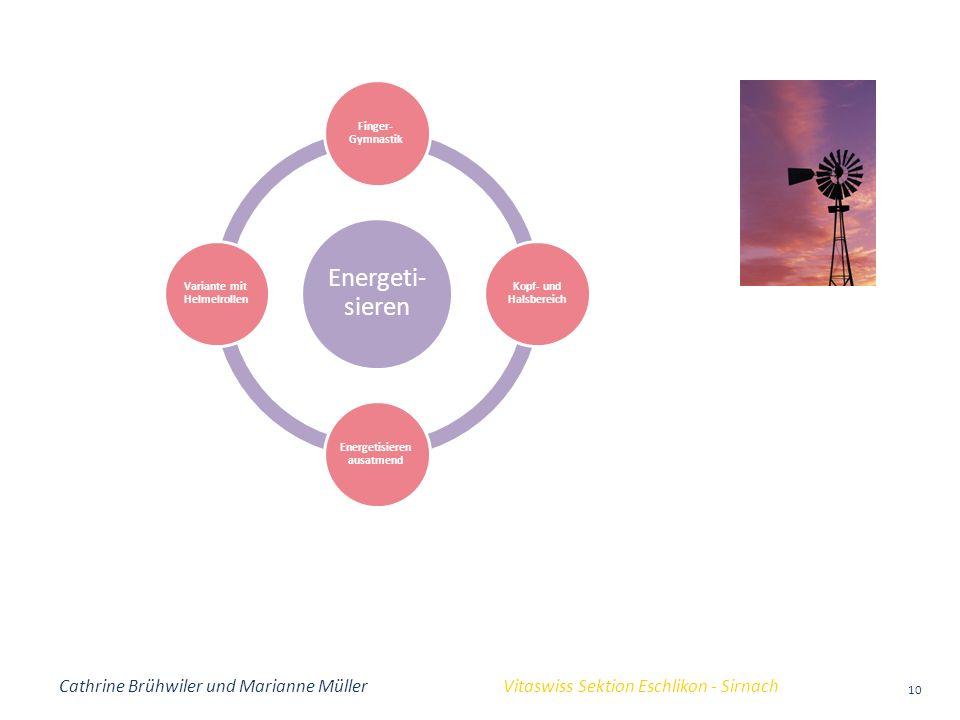 Cathrine Brühwiler und Marianne Müller Vitaswiss Sektion Eschlikon - Sirnach 10 Energeti- sieren Finger- Gymnastik Kopf- und Halsbereich Energetisiere