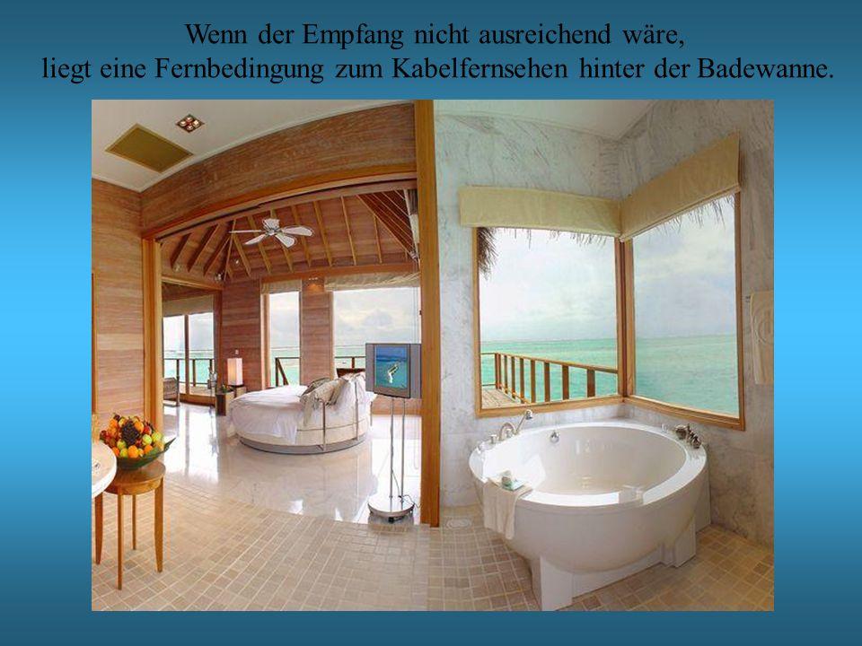 Wenn der Empfang nicht ausreichend wäre, liegt eine Fernbedingung zum Kabelfernsehen hinter der Badewanne.