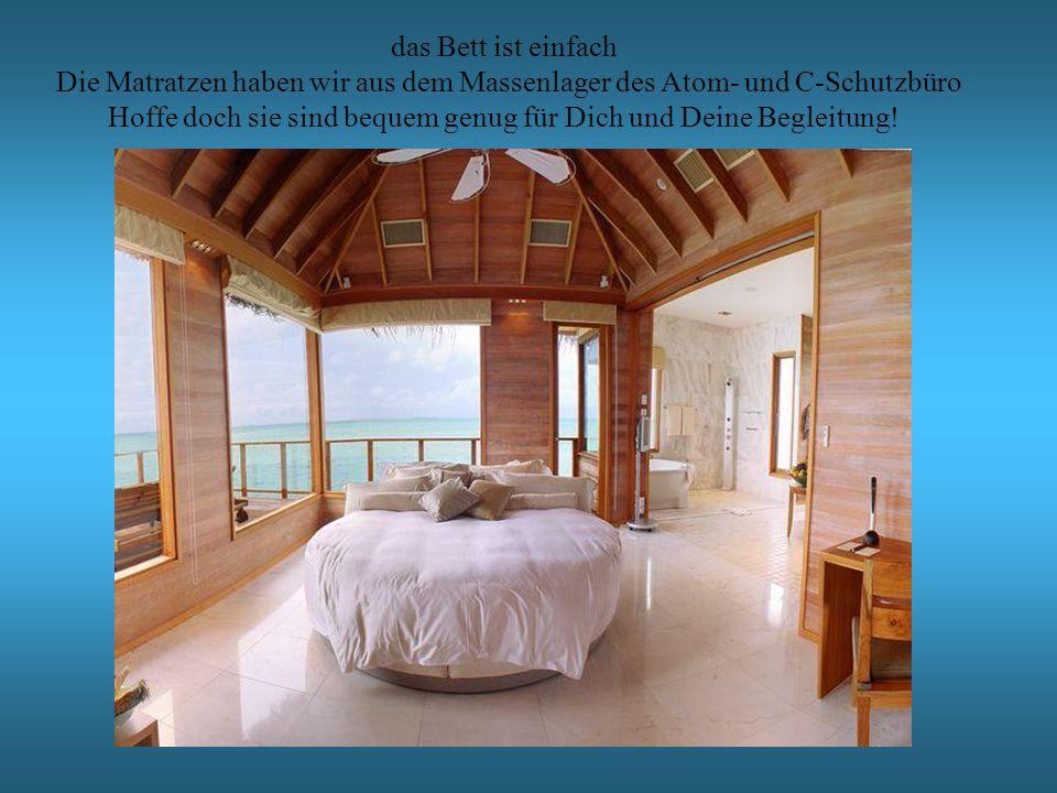 das Bett ist einfach Die Matratzen haben wir aus dem Massenlager des Atom- und C-Schutzbüro Hoffe doch sie sind bequem genug für Dich und Deine Begleitung!