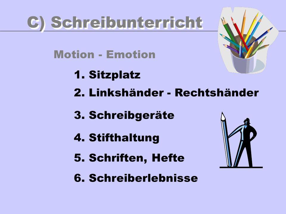 Motion - Emotion C) Schreibunterricht 1. Sitzplatz 3. Schreibgeräte 4. Stifthaltung 5. Schriften, Hefte 6. Schreiberlebnisse 2. Linkshänder - Rechtshä