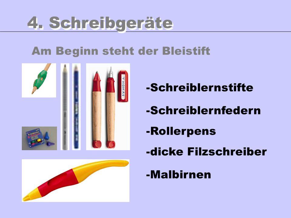 Am Beginn steht der Bleistift 4. Schreibgeräte -Schreiblernstifte -Schreiblernfedern -Rollerpens -dicke Filzschreiber -Malbirnen