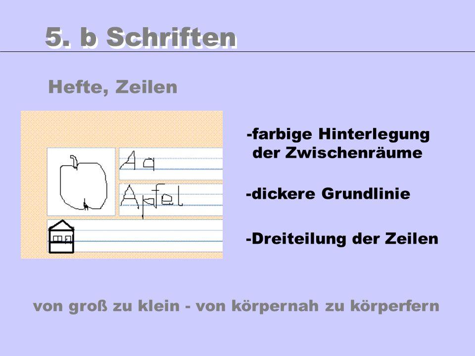 Hefte, Zeilen 5. b Schriften -farbige Hinterlegung der Zwischenräume -Dreiteilung der Zeilen -dickere Grundlinie von groß zu klein - von körpernah zu