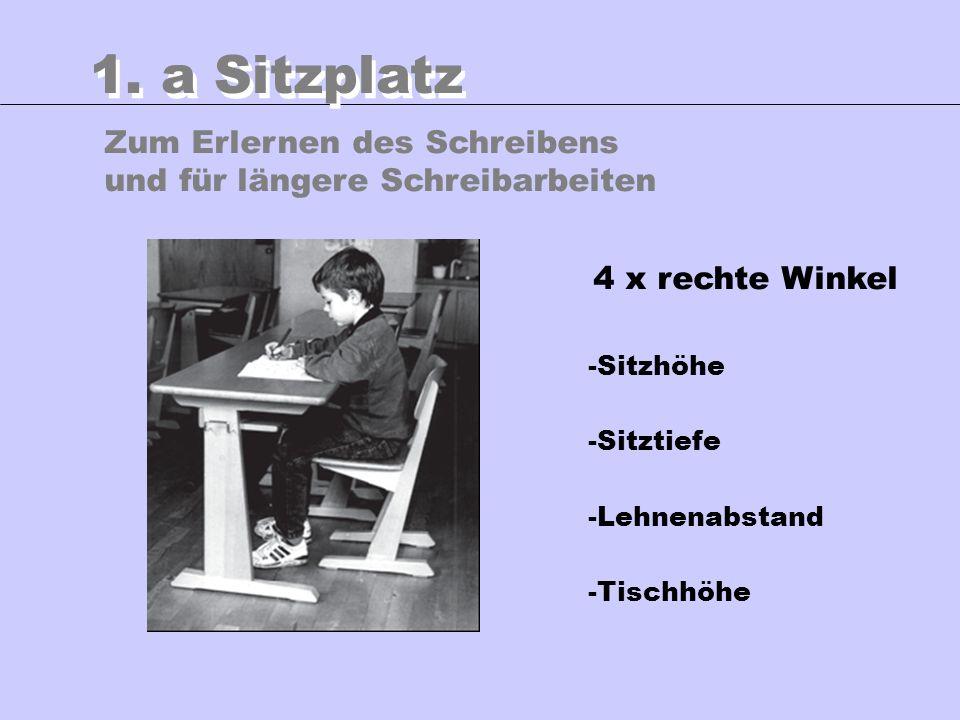 Zum Erlernen des Schreibens und für längere Schreibarbeiten 1. a Sitzplatz 4 x rechte Winkel -Sitzhöhe -Sitztiefe -Lehnenabstand -Tischhöhe