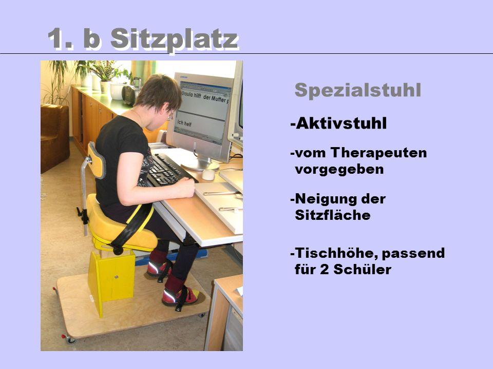 Spezialstuhl 1. b Sitzplatz -Aktivstuhl -vom Therapeuten vorgegeben -Neigung der Sitzfläche -Tischhöhe, passend für 2 Schüler