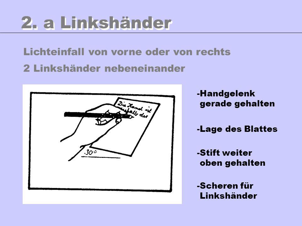 Lichteinfall von vorne oder von rechts 2. a Linkshänder -Handgelenk gerade gehalten -Lage des Blattes -Stift weiter oben gehalten -Scheren für Linkshä