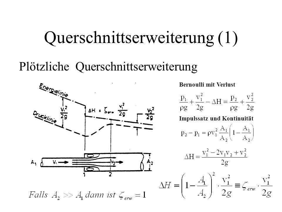 Querschnittserweiterung (1) Plötzliche Querschnittserweiterung Bernoulli mit Verlust Impulssatz und Kontinuität