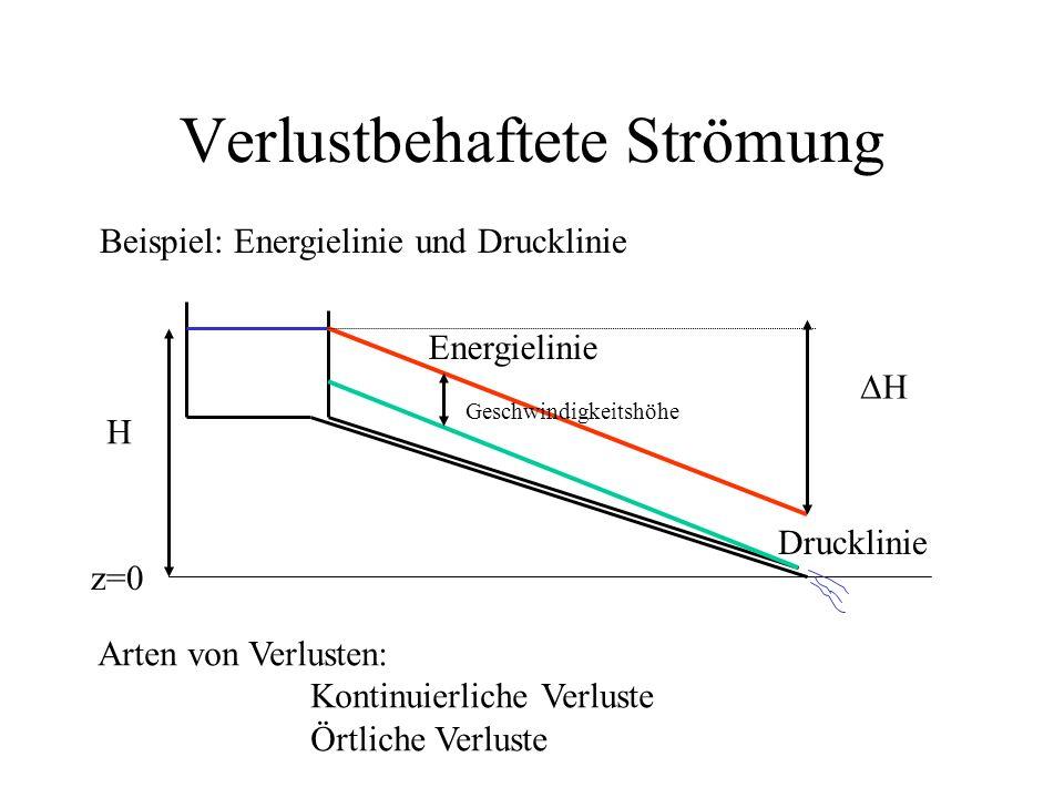Verlustbehaftete Strömung Beispiel: Energielinie und Drucklinie Arten von Verlusten: Kontinuierliche Verluste Örtliche Verluste z=0 H Energielinie Dru