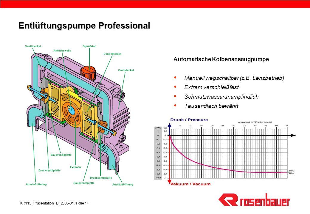 KR115_Präsentation_D_2005-01 / Folie 14 Entlüftungspumpe Professional Automatische Kolbenansaugpumpe Manuell wegschaltbar (z.B.