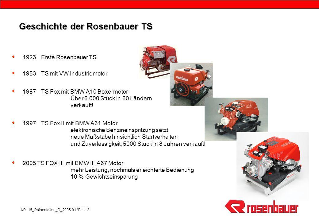 KR115_Präsentation_D_2005-01 / Folie 2 Geschichte der Rosenbauer TS 1923Erste Rosenbauer TS 1953TS mit VW Industriemotor 1987TS Fox mit BMW A10 Boxermotor Über 6 000 Stück in 60 Ländern verkauft.