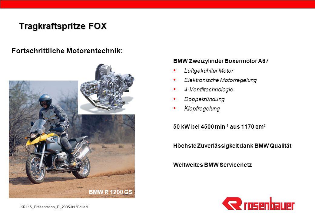 KR115_Präsentation_D_2005-01 / Folie 9 Tragkraftspritze FOX BMW Zweizylinder Boxermotor A67 Luftgekühlter Motor Elektronische Motorregelung 4-Ventilte