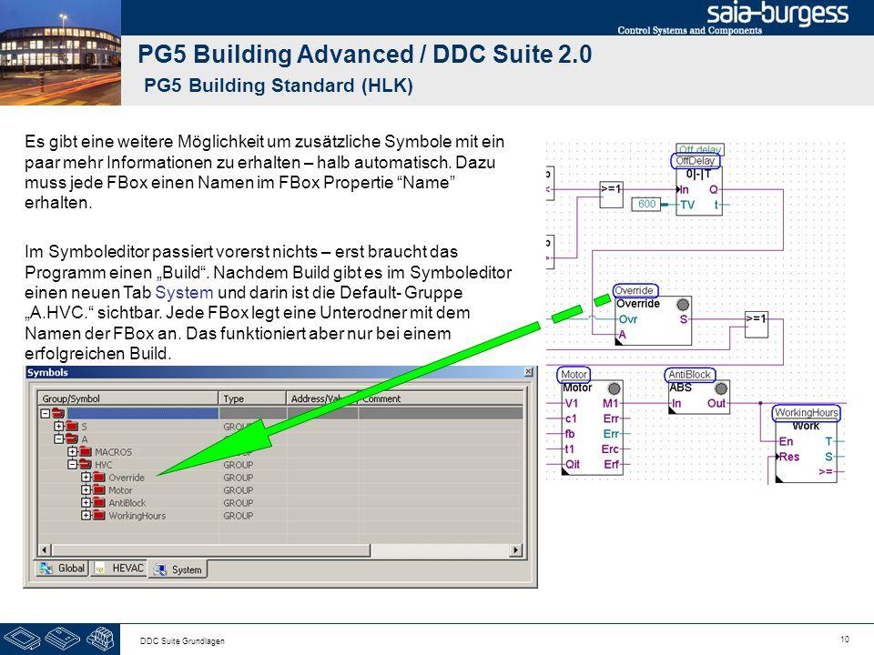 10 DDC Suite Grundlagen PG5 Building Advanced / DDC Suite 2.0 PG5 Building Standard (HLK) Es gibt eine weitere Möglichkeit um zusätzliche Symbole mit ein paar mehr Informationen zu erhalten – halb automatisch.