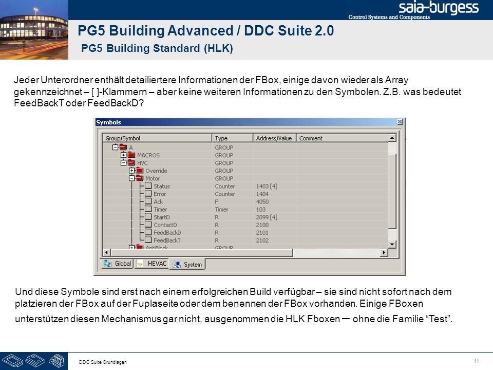11 DDC Suite Grundlagen PG5 Building Advanced / DDC Suite 2.0 PG5 Building Standard (HLK) Jeder Unterordner enthält detailiertere Informationen der FBox, einige davon wieder als Array gekennzeichnet – [ ]-Klammern – aber keine weiteren Informationen zu den Symbolen.