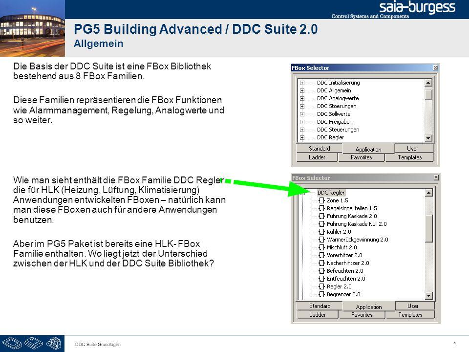 4 DDC Suite Grundlagen PG5 Building Advanced / DDC Suite 2.0 Allgemein Die Basis der DDC Suite ist eine FBox Bibliothek bestehend aus 8 FBox Familien.