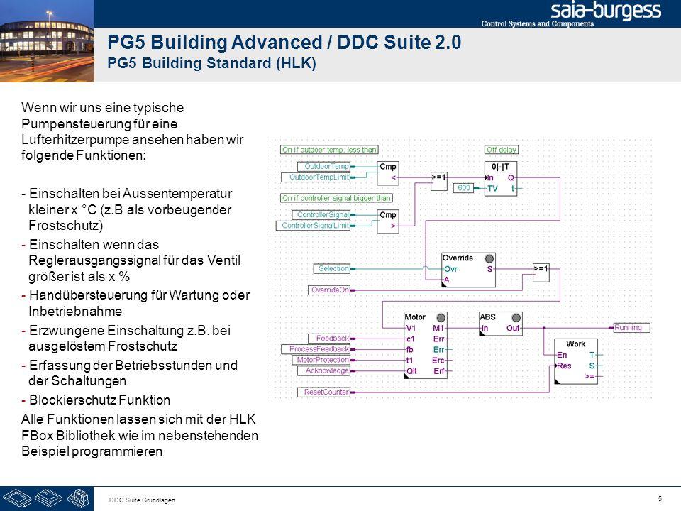 5 DDC Suite Grundlagen PG5 Building Advanced / DDC Suite 2.0 PG5 Building Standard (HLK) Wenn wir uns eine typische Pumpensteuerung für eine Lufterhitzerpumpe ansehen haben wir folgende Funktionen: - Einschalten bei Aussentemperatur kleiner x °C (z.B als vorbeugender Frostschutz) - Einschalten wenn das Reglerausgangssignal für das Ventil größer ist als x % - Handübersteuerung für Wartung oder Inbetriebnahme - Erzwungene Einschaltung z.B.