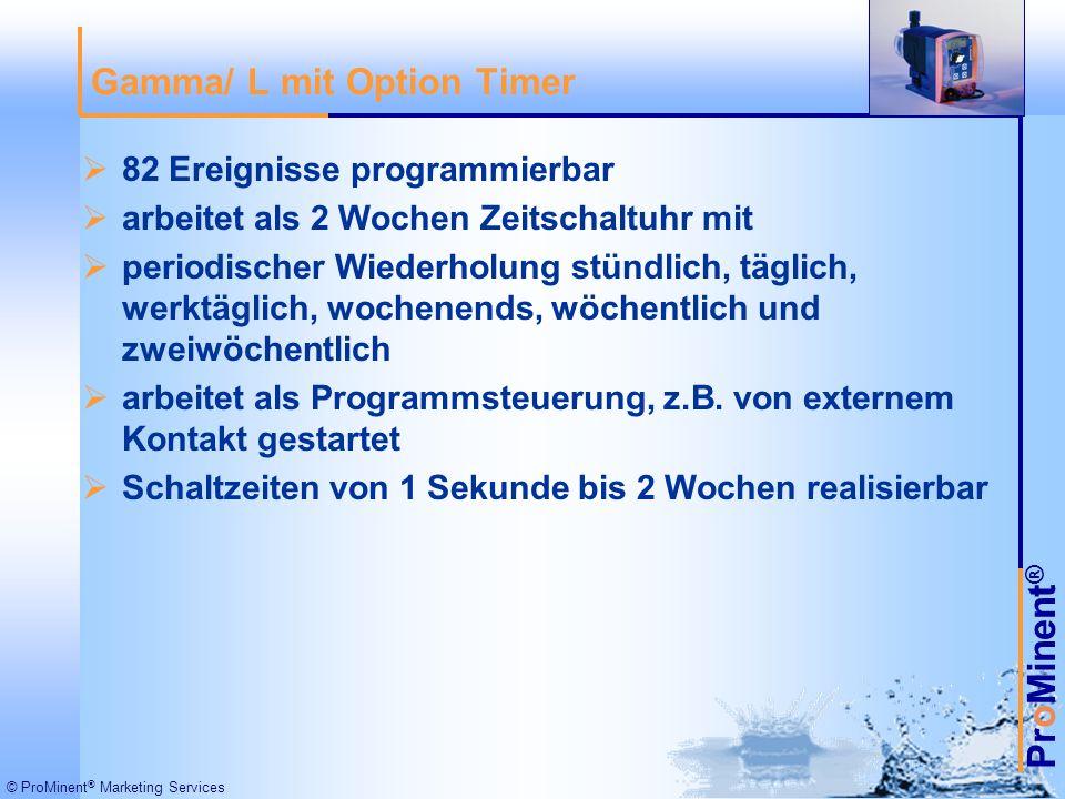 ProMinent ® © ProMinent ® Marketing Services 82 Ereignisse programmierbar arbeitet als 2 Wochen Zeitschaltuhr mit periodischer Wiederholung stündlich, täglich, werktäglich, wochenends, wöchentlich und zweiwöchentlich arbeitet als Programmsteuerung, z.B.