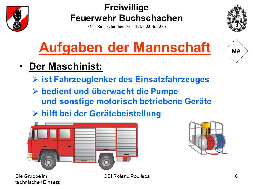 Die Gruppe im technischen Einsatz OBI Roland Podlisca6 MA Der Maschinist: ist Fahrzeuglenker des Einsatzfahrzeuges bedient und überwacht die Pumpe und