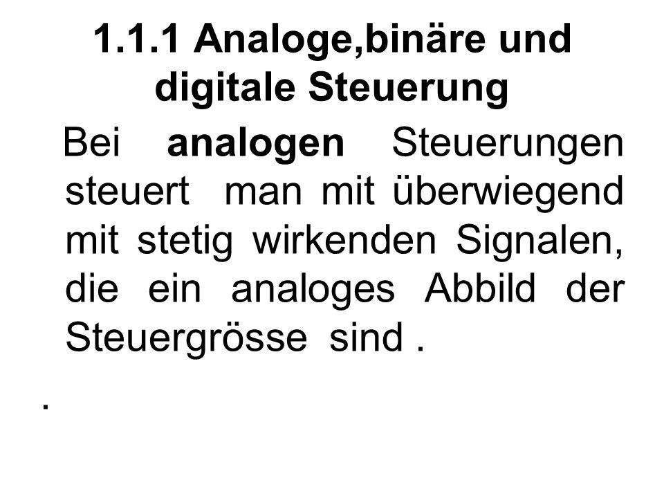 1.1.1 Analoge,binäre und digitale Steuerung Bei analogen Steuerungen steuert man mit überwiegend mit stetig wirkenden Signalen, die ein analoges Abbild der Steuergrösse sind..