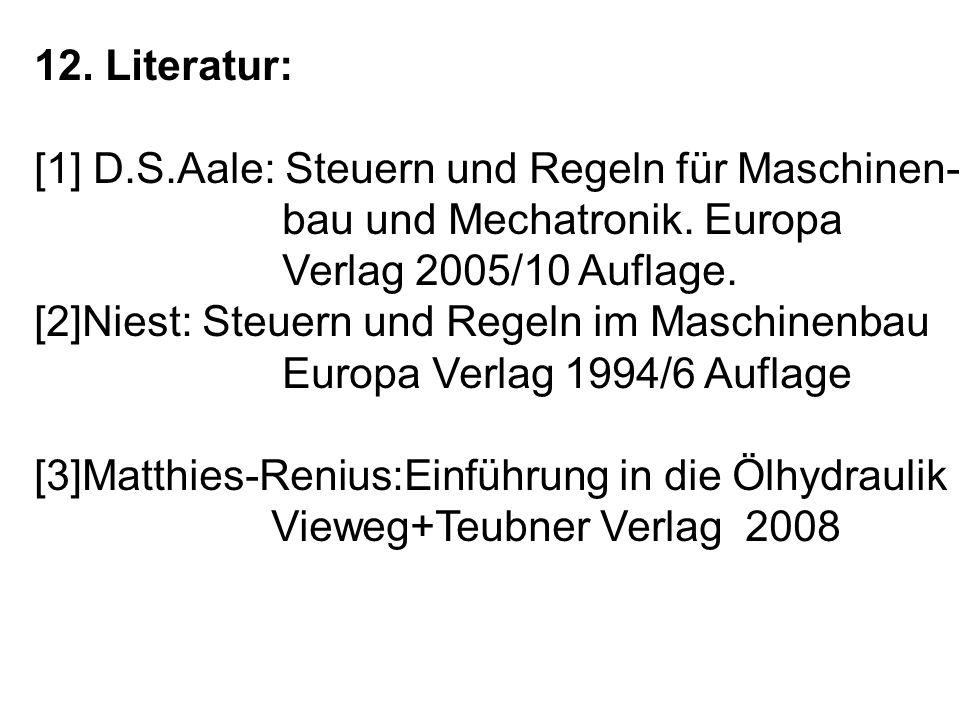 12.Literatur: [1] D.S.Aale: Steuern und Regeln für Maschinen- bau und Mechatronik.