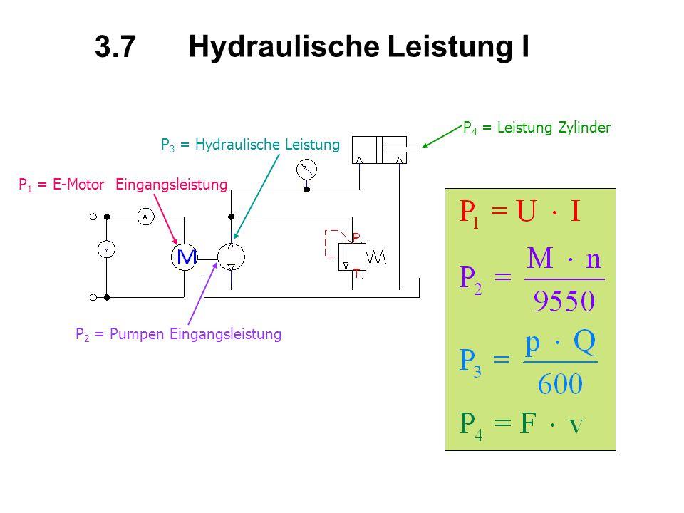 Hydraulische Leistung I P 1 = E-Motor Eingangsleistung P 2 = Pumpen Eingangsleistung P 3 = Hydraulische Leistung P 4 = Leistung Zylinder 3.7