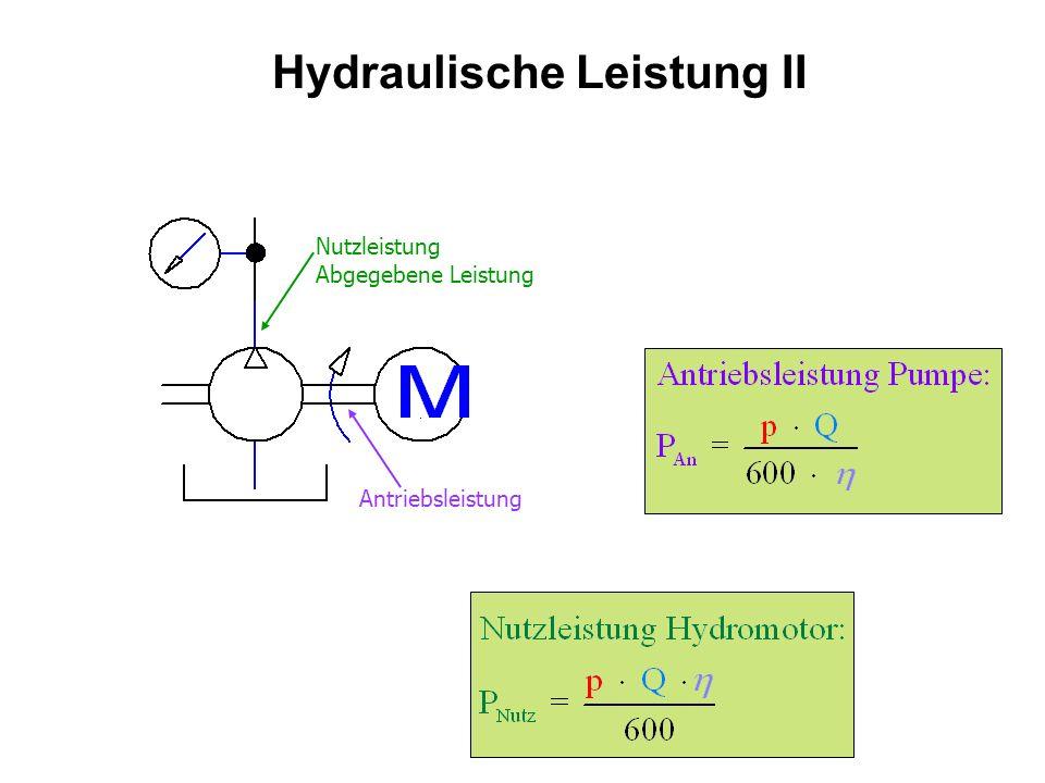 Hydraulische Leistung II Antriebsleistung Nutzleistung Abgegebene Leistung