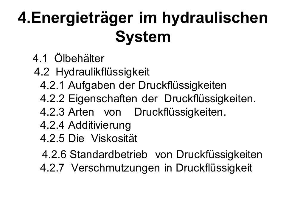 4.Energieträger im hydraulischen System 4.1 Ölbehälter 4.2 Hydraulikflüssigkeit 4.2.1 Aufgaben der Druckflüssigkeiten 4.2.2 Eigenschaften der Druckflüssigkeiten.