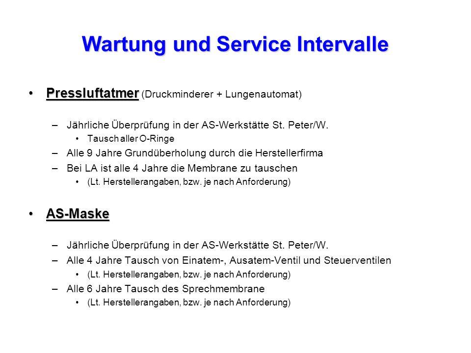 Wartung und Service Intervalle PressluftatmerPressluftatmer (Druckminderer + Lungenautomat) –Jährliche Überprüfung in der AS-Werkstätte St.