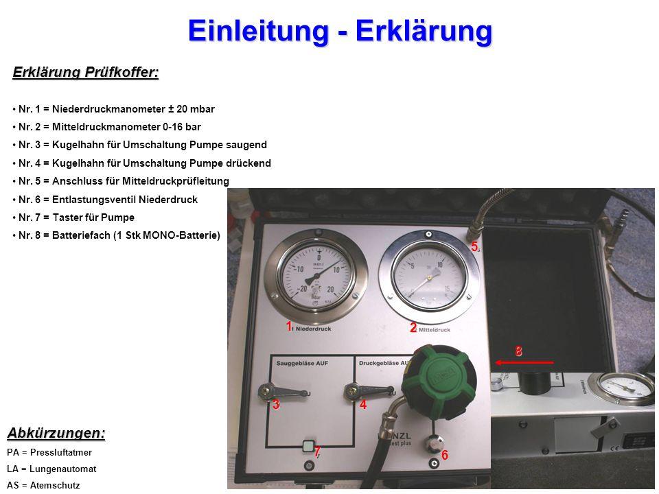 Einleitung - Erklärung Erklärung Prüfkoffer: Nr.1 = Niederdruckmanometer ± 20 mbar Nr.