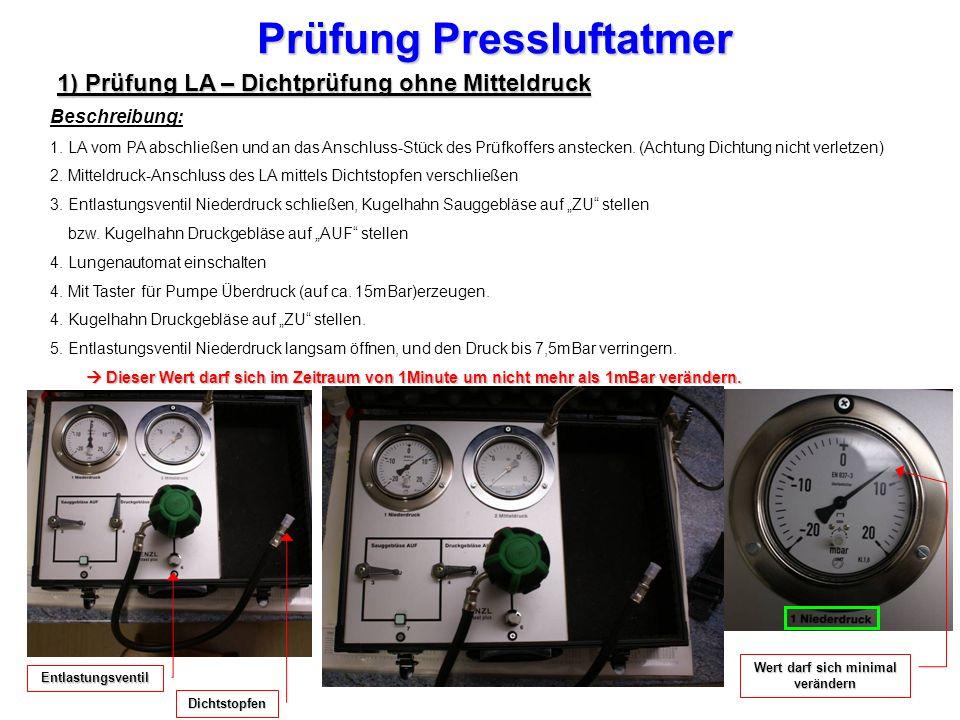 Prüfung Pressluftatmer 1) Prüfung LA – Dichtprüfung ohne Mitteldruck Beschreibung: 1.