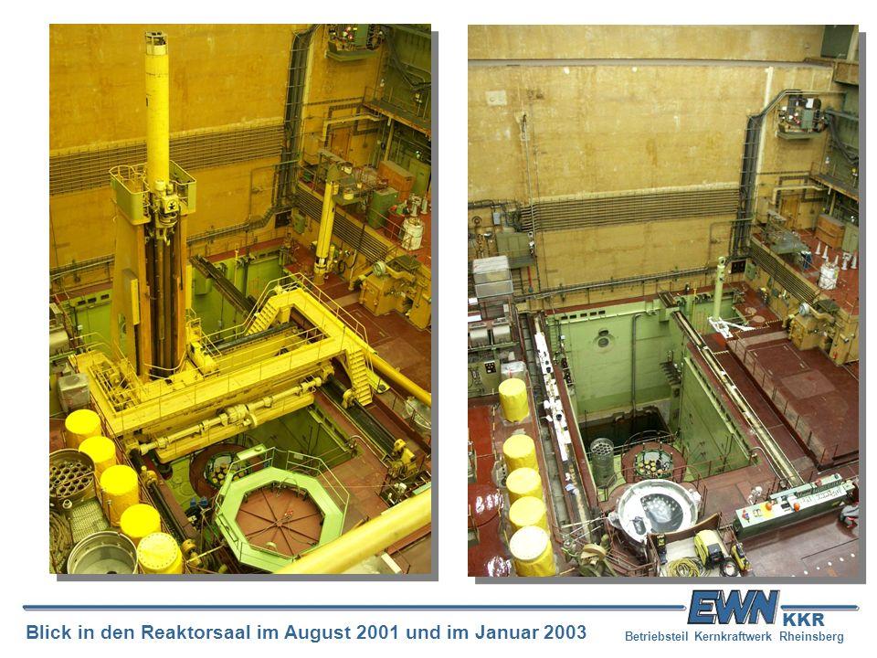 Betriebsteil Kernkraftwerk Rheinsberg Blick in den Reaktorsaal im August 2001 und im Januar 2003 KKR