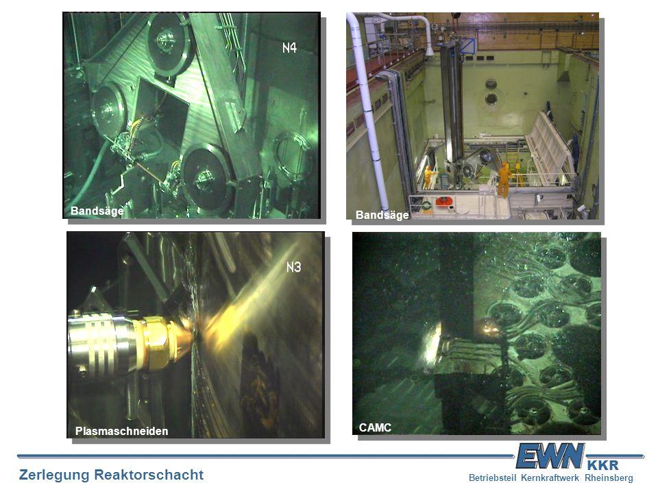 Betriebsteil Kernkraftwerk Rheinsberg Zerlegung Reaktorschacht KKR Bandsäge Plasmaschneiden CAMC