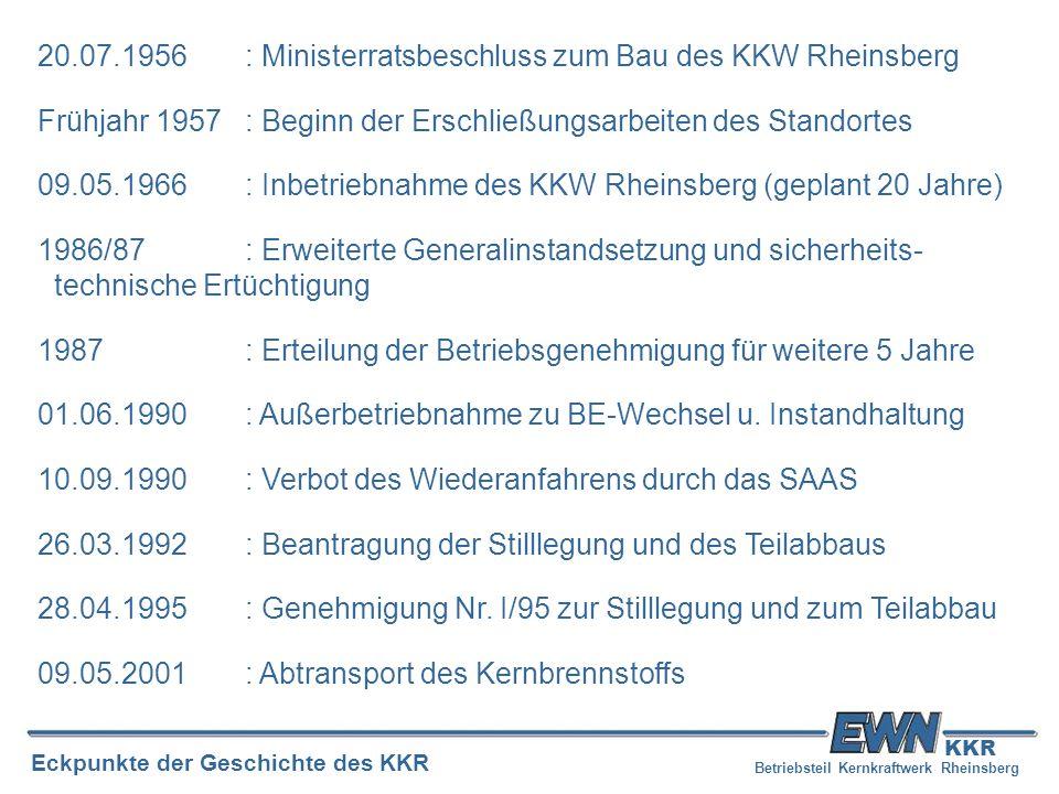 Betriebsteil Kernkraftwerk Rheinsberg Eckpunkte der Geschichte des KKR KKR 20.07.1956: Ministerratsbeschluss zum Bau des KKW Rheinsberg Frühjahr 1957: