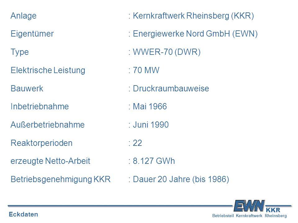 Betriebsteil Kernkraftwerk Rheinsberg Eckdaten KKR Anlage: Kernkraftwerk Rheinsberg (KKR) Eigentümer: Energiewerke Nord GmbH (EWN) Type: WWER-70 (DWR)